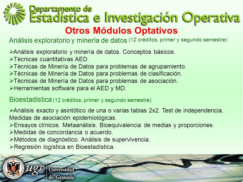 Otros Módulos Optativos Análisis exploratorio y minería de datos (12 créditos, primer y segundo semestre) Análisis exploratorio y minería de datos. Co
