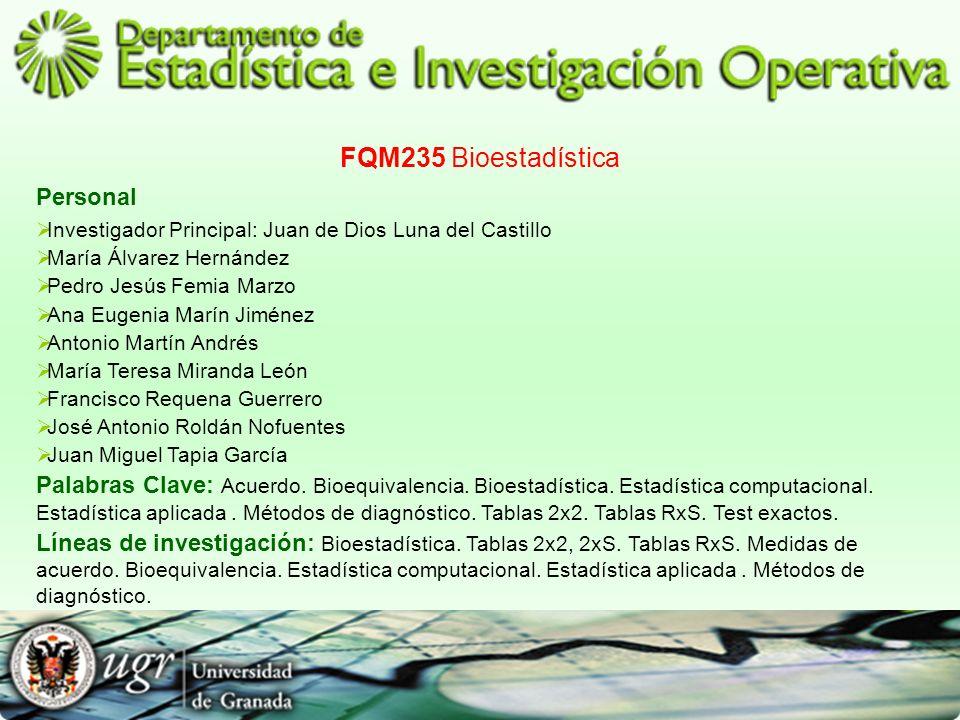 FQM235 Bioestadística Personal Investigador Principal: Juan de Dios Luna del Castillo María Álvarez Hernández Pedro Jesús Femia Marzo Ana Eugenia Marí