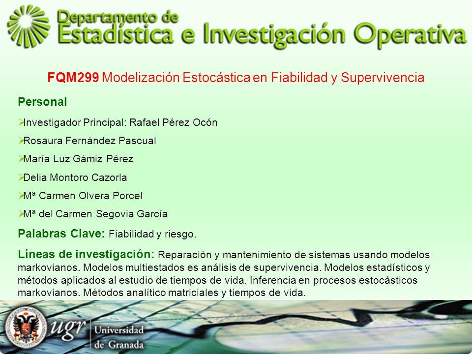 FQM299 Modelización Estocástica en Fiabilidad y Supervivencia Personal Investigador Principal: Rafael Pérez Ocón Rosaura Fernández Pascual María Luz G