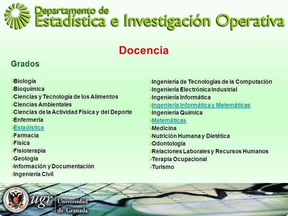Docencia Grados Biología Bioquímica Ciencias y Tecnología de los Alimentos Ciencias Ambientales Ciencias de la Actividad Física y del Deporte Enfermer