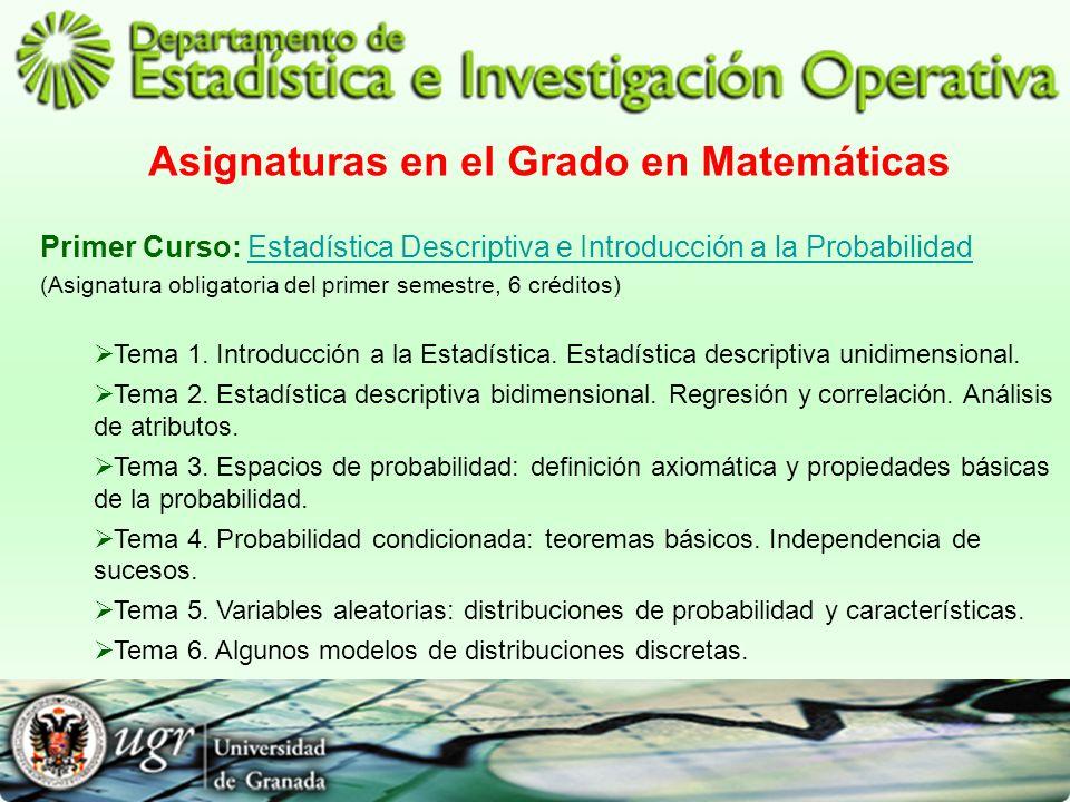 Asignaturas en el Grado en Matemáticas Primer Curso: Estadística Descriptiva e Introducción a la ProbabilidadEstadística Descriptiva e Introducción a