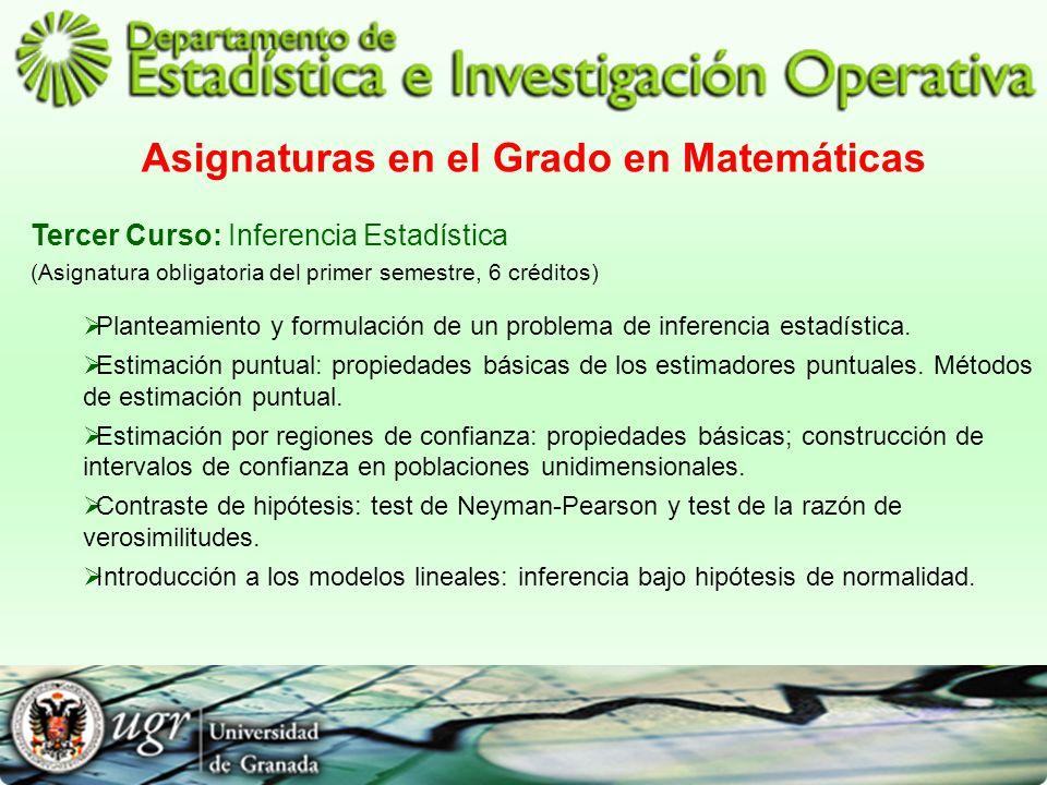 Asignaturas en el Grado en Matemáticas Tercer Curso: Inferencia Estadística (Asignatura obligatoria del primer semestre, 6 créditos) Planteamiento y f