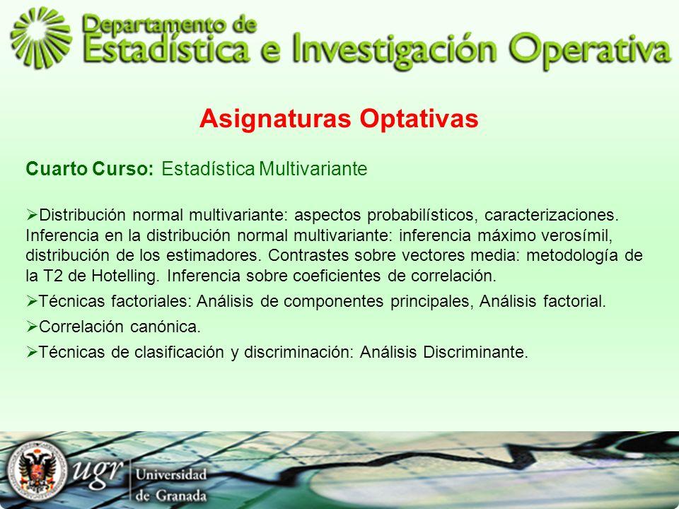 Asignaturas Optativas Cuarto Curso:Estadística Multivariante Distribución normal multivariante: aspectos probabilísticos, caracterizaciones. Inferenci