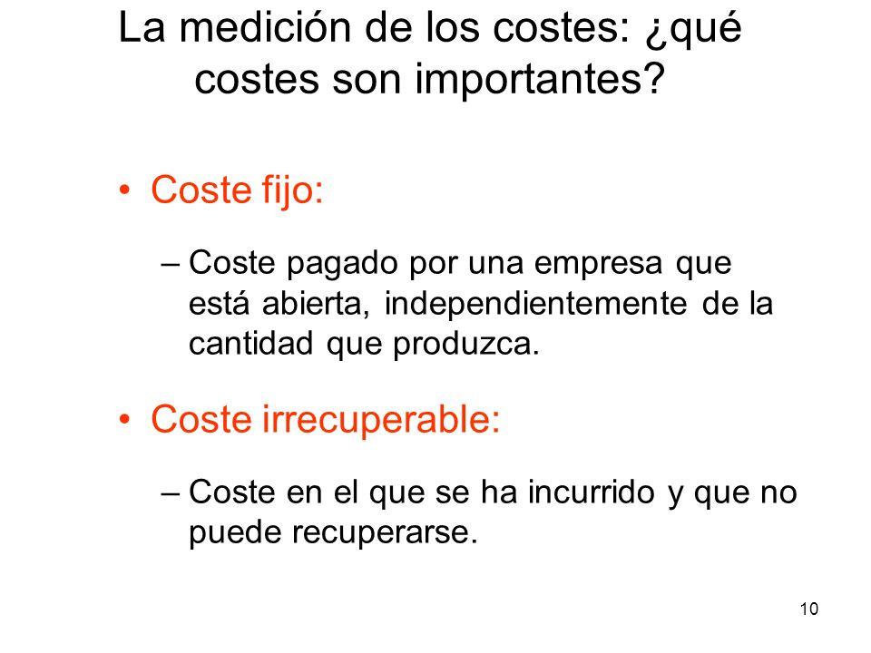 10 Coste fijo: –Coste pagado por una empresa que está abierta, independientemente de la cantidad que produzca. Coste irrecuperable: –Coste en el que s