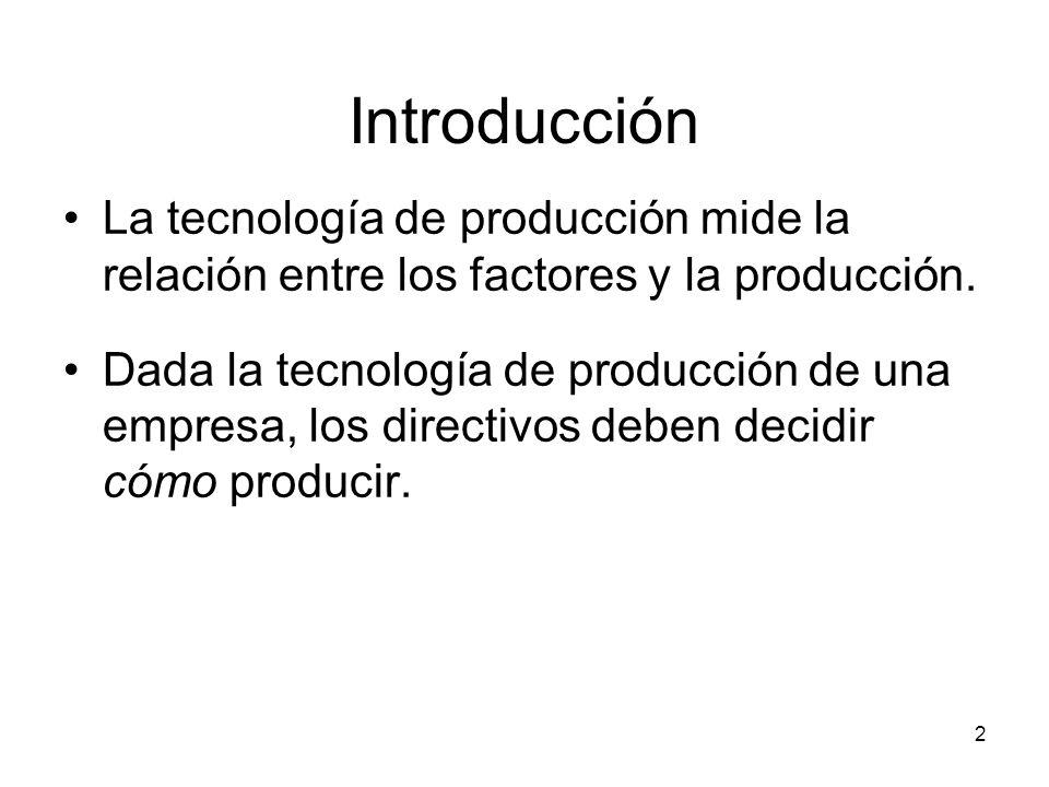 2 Introducción La tecnología de producción mide la relación entre los factores y la producción. Dada la tecnología de producción de una empresa, los d