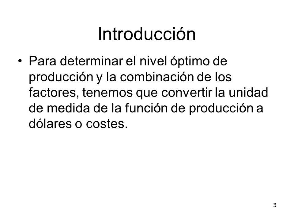 3 Introducción Para determinar el nivel óptimo de producción y la combinación de los factores, tenemos que convertir la unidad de medida de la función