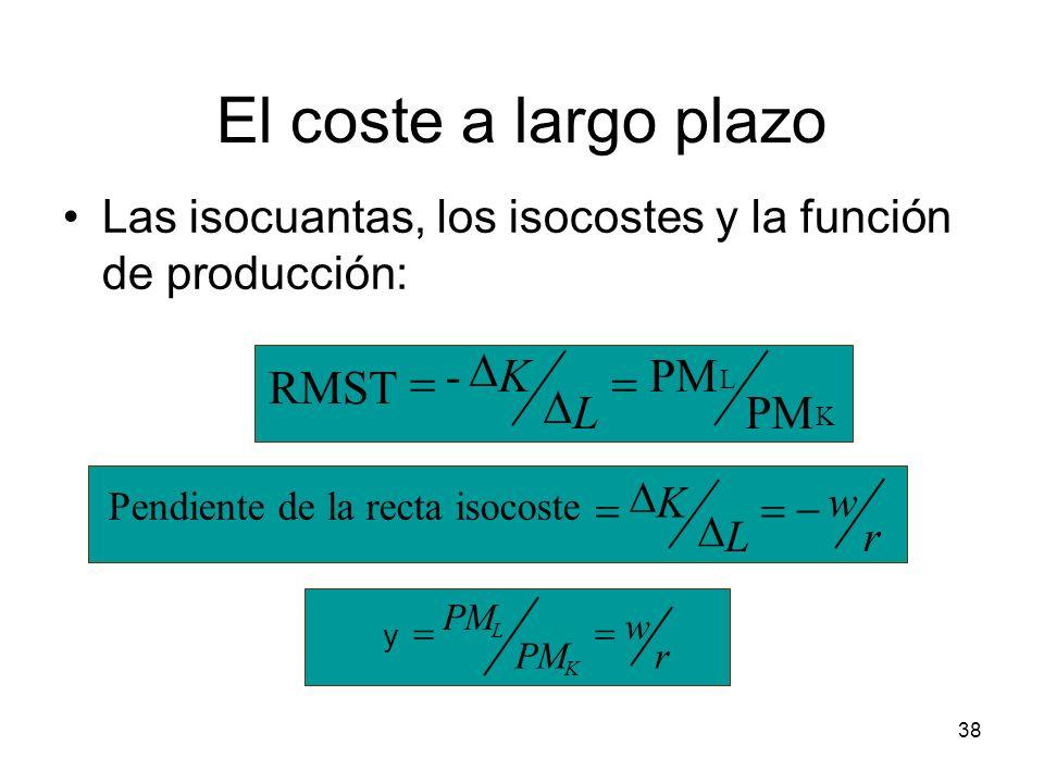 38 El coste a largo plazo Las isocuantas, los isocostes y la función de producción: K L PM - RMST L K r w L K Pendiente de la recta isocoste r w PM K