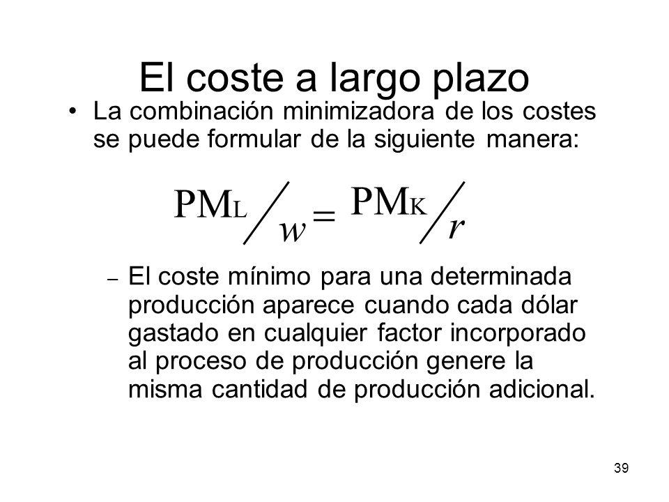 39 El coste a largo plazo La combinación minimizadora de los costes se puede formular de la siguiente manera: – El coste mínimo para una determinada p