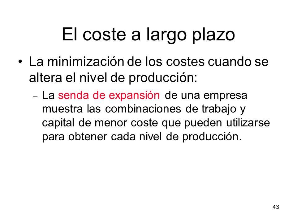 43 La minimización de los costes cuando se altera el nivel de producción: – La senda de expansión de una empresa muestra las combinaciones de trabajo