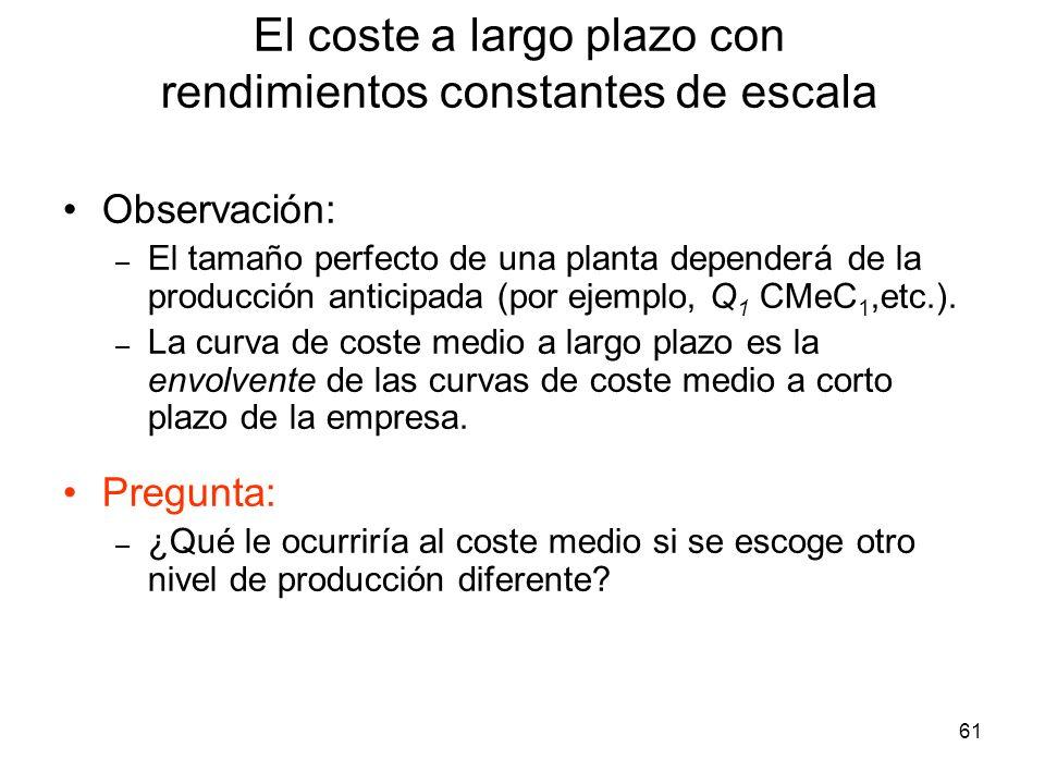 61 Observación: – El tamaño perfecto de una planta dependerá de la producción anticipada (por ejemplo, Q 1 CMeC 1,etc.). – La curva de coste medio a l