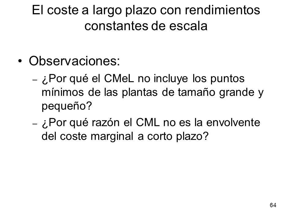 64 Observaciones: – ¿Por qué el CMeL no incluye los puntos mínimos de las plantas de tamaño grande y pequeño? – ¿Por qué razón el CML no es la envolve