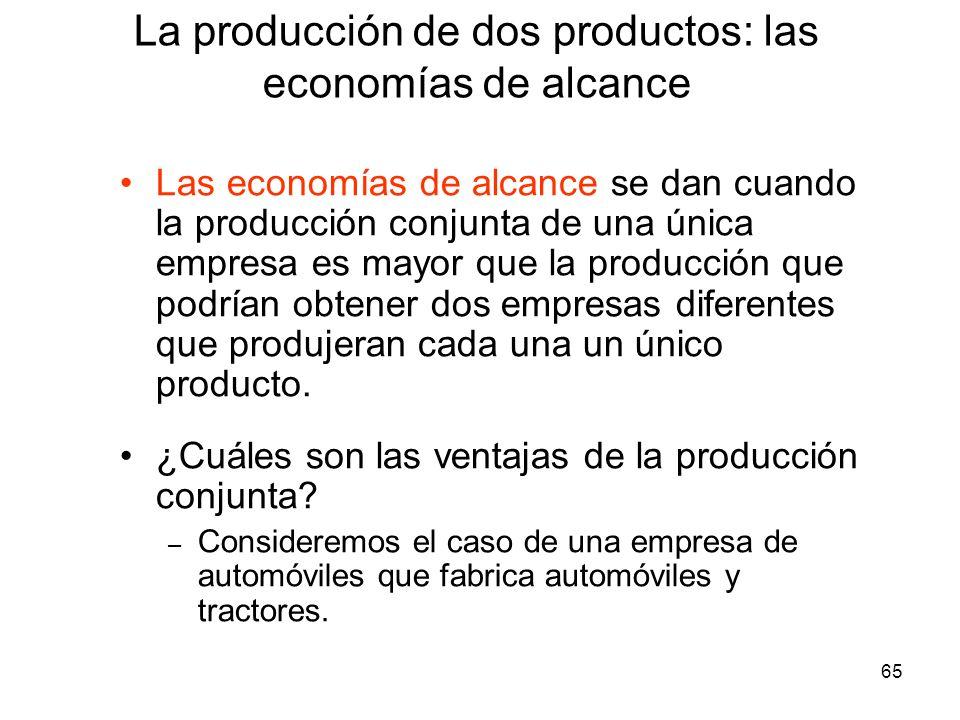 65 Las economías de alcance se dan cuando la producción conjunta de una única empresa es mayor que la producción que podrían obtener dos empresas dife