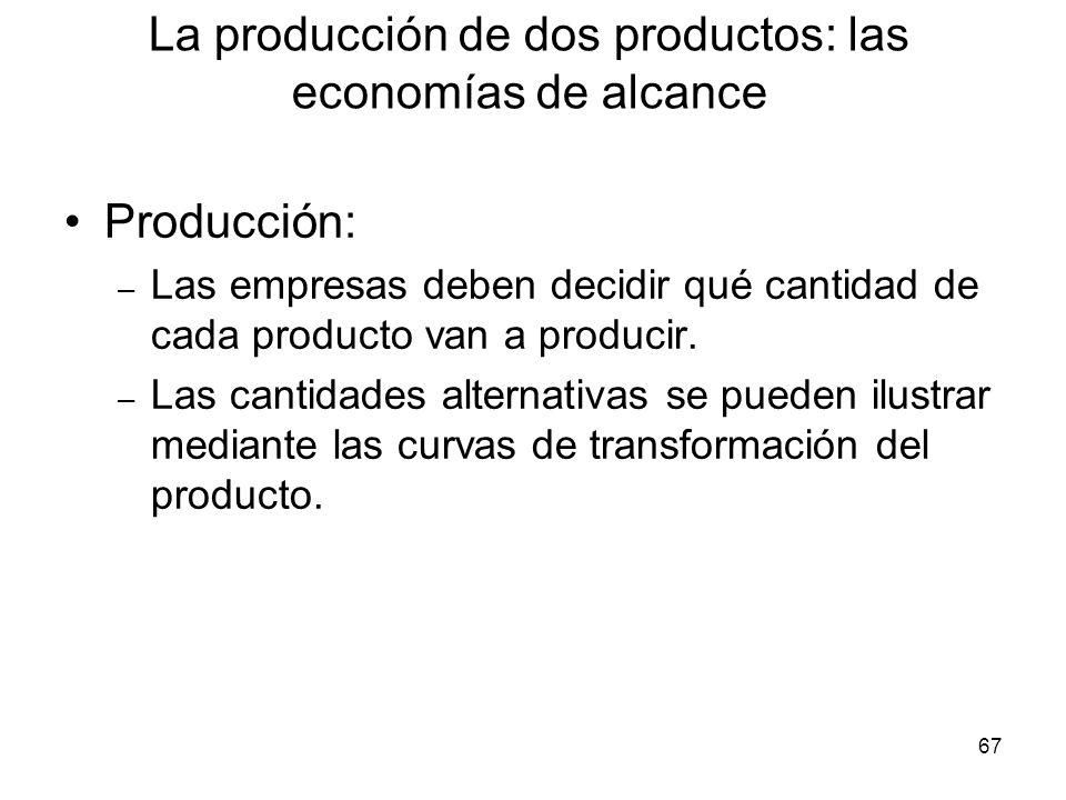 67 Producción: – Las empresas deben decidir qué cantidad de cada producto van a producir. – Las cantidades alternativas se pueden ilustrar mediante la