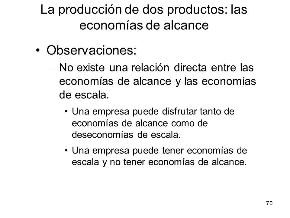 70 Observaciones: – No existe una relación directa entre las economías de alcance y las economías de escala. Una empresa puede disfrutar tanto de econ