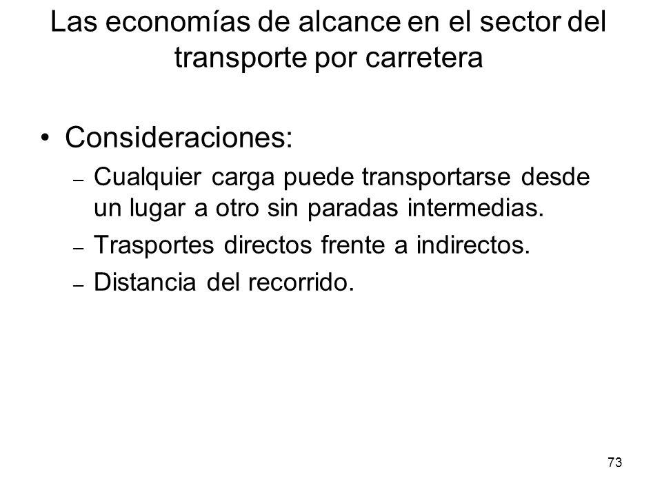 73 Las economías de alcance en el sector del transporte por carretera Consideraciones: – Cualquier carga puede transportarse desde un lugar a otro sin