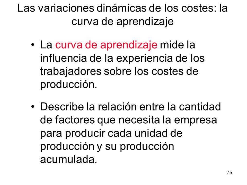 75 Las variaciones dinámicas de los costes: la curva de aprendizaje La curva de aprendizaje mide la influencia de la experiencia de los trabajadores s