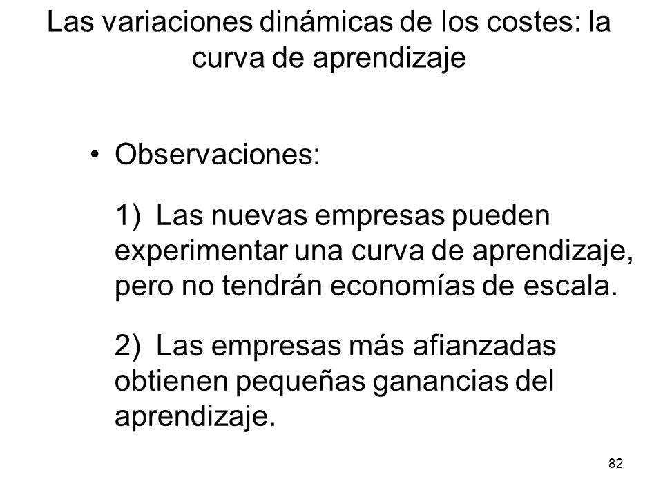 82 Observaciones: 1) Las nuevas empresas pueden experimentar una curva de aprendizaje, pero no tendrán economías de escala. 2)Las empresas más afianza