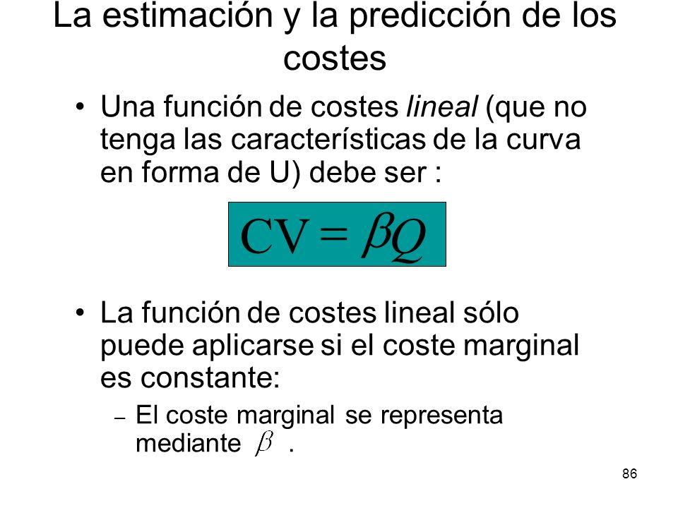86 Una función de costes lineal (que no tenga las características de la curva en forma de U) debe ser : La función de costes lineal sólo puede aplicar