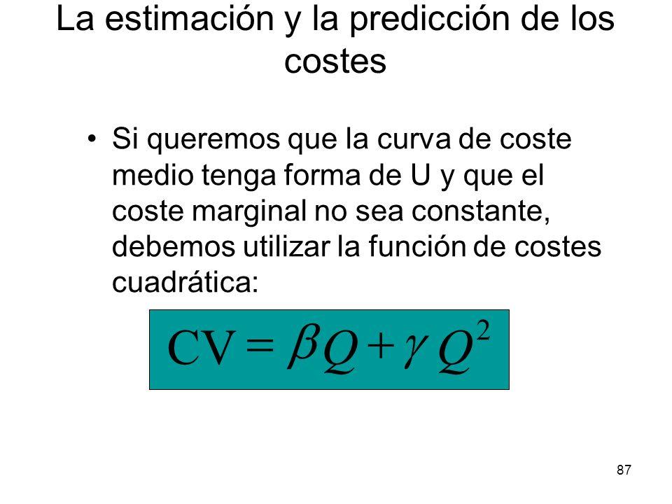 87 Si queremos que la curva de coste medio tenga forma de U y que el coste marginal no sea constante, debemos utilizar la función de costes cuadrática