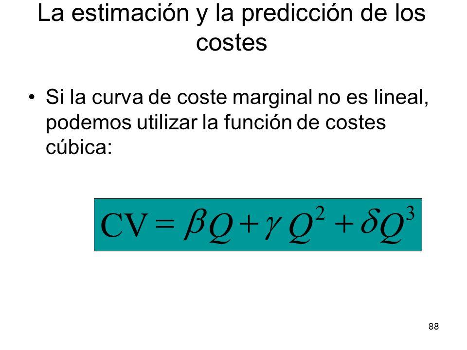 88 Si la curva de coste marginal no es lineal, podemos utilizar la función de costes cúbica: 32 CVQQQ La estimación y la predicción de los costes