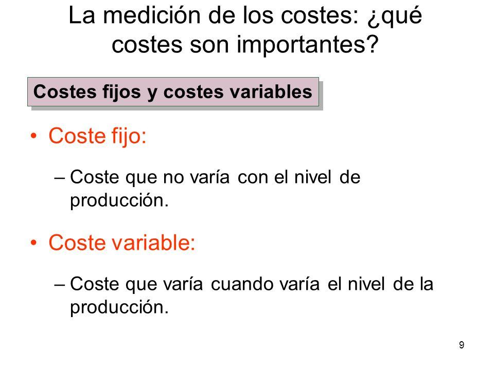 9 Coste fijo: –Coste que no varía con el nivel de producción. Coste variable: –Coste que varía cuando varía el nivel de la producción. La medición de