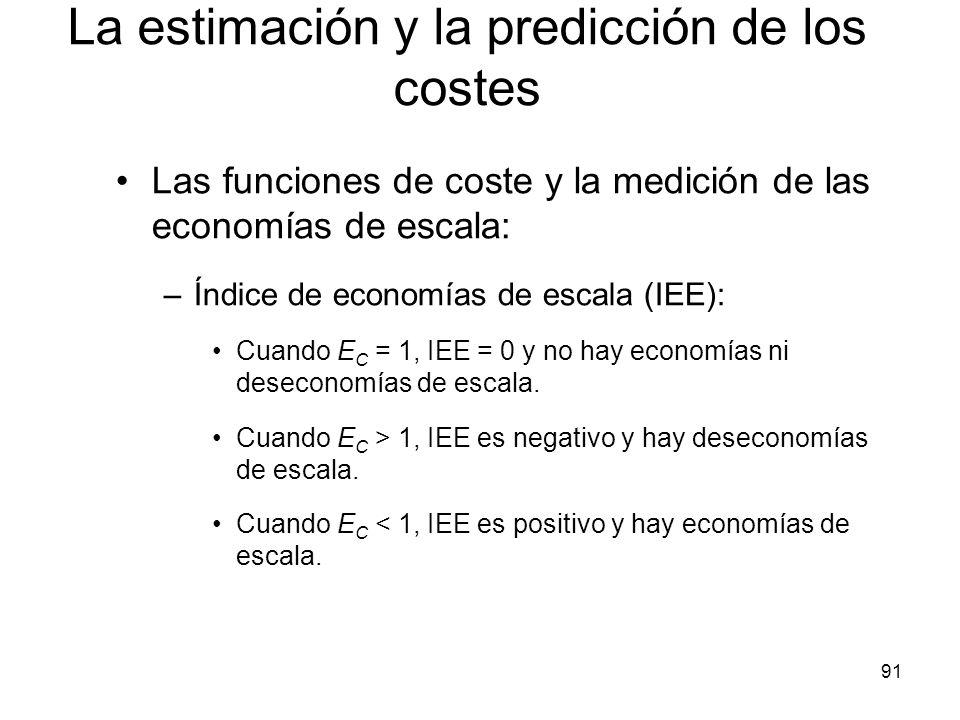 91 Las funciones de coste y la medición de las economías de escala: –Índice de economías de escala (IEE): Cuando E C = 1, IEE = 0 y no hay economías n