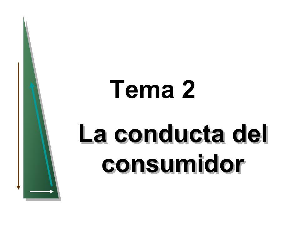 32 Funciones de utilidad –Supongamos:La función de utilidad correspondiente a los alimentos (A) y al vestido (V): u(A,V) = A + 2V Cesta de mercado: A unidades V unidades u(A,V) = A+2V A 8 3 8 + 2(3) = 14 B 6 4 6 + 2(4) = 14 C 4 4 4 + 2(4) = 12 Al consumidor le resulta indiferente A y B.