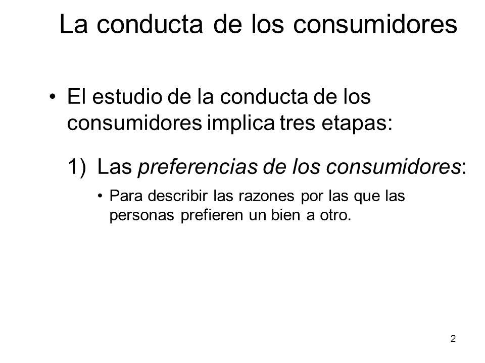 2 El estudio de la conducta de los consumidores implica tres etapas: 1) Las preferencias de los consumidores: Para describir las razones por las que l