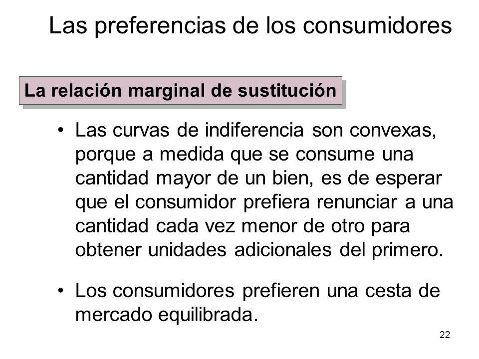 22 Las curvas de indiferencia son convexas, porque a medida que se consume una cantidad mayor de un bien, es de esperar que el consumidor prefiera ren