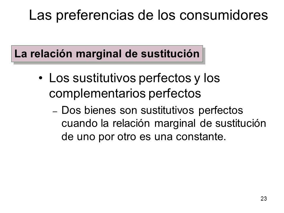 23 Los sustitutivos perfectos y los complementarios perfectos – Dos bienes son sustitutivos perfectos cuando la relación marginal de sustitución de un