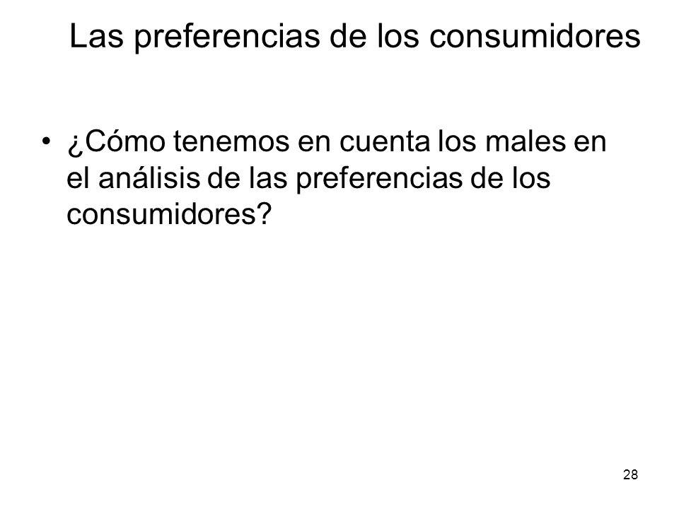 28 ¿Cómo tenemos en cuenta los males en el análisis de las preferencias de los consumidores? Las preferencias de los consumidores