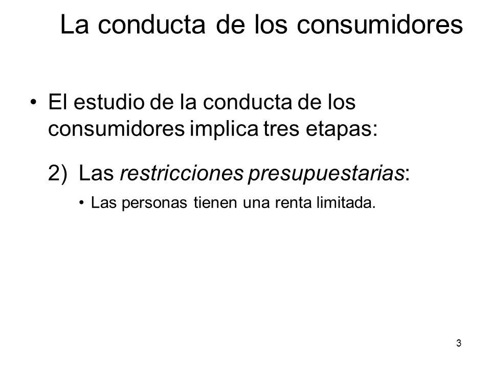3 El estudio de la conducta de los consumidores implica tres etapas: 2)Las restricciones presupuestarias: Las personas tienen una renta limitada. La c