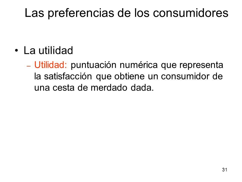 31 La utilidad – Utilidad: puntuación numérica que representa la satisfacción que obtiene un consumidor de una cesta de merdado dada. Las preferencias