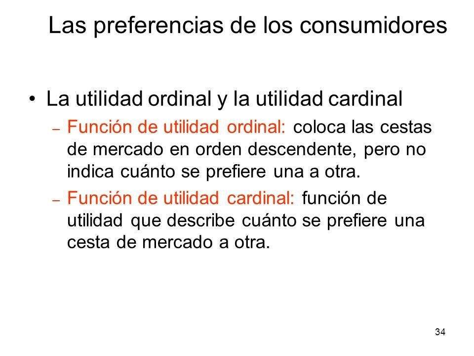 34 La utilidad ordinal y la utilidad cardinal – Función de utilidad ordinal: coloca las cestas de mercado en orden descendente, pero no indica cuánto