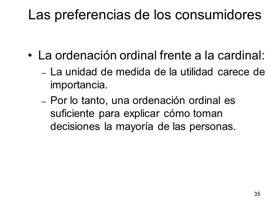 35 La ordenación ordinal frente a la cardinal: – La unidad de medida de la utilidad carece de importancia. – Por lo tanto, una ordenación ordinal es s