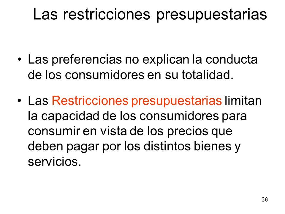 36 Las restricciones presupuestarias Las preferencias no explican la conducta de los consumidores en su totalidad. Las Restricciones presupuestarias l