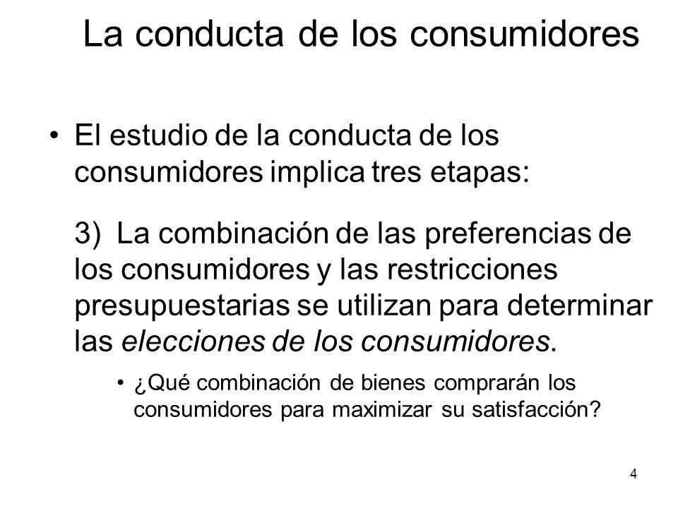4 El estudio de la conducta de los consumidores implica tres etapas: 3) La combinación de las preferencias de los consumidores y las restricciones pre