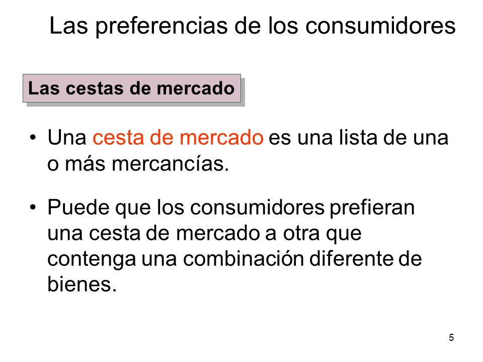 5 Las preferencias de los consumidores Una cesta de mercado es una lista de una o más mercancías. Puede que los consumidores prefieran una cesta de me