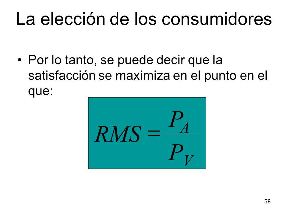 58 Por lo tanto, se puede decir que la satisfacción se maximiza en el punto en el que: PVPV PAPA RMS La elección de los consumidores