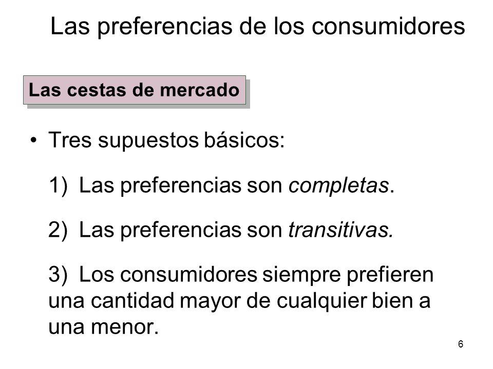 6 Tres supuestos básicos: 1) Las preferencias son completas. 2) Las preferencias son transitivas. 3) Los consumidores siempre prefieren una cantidad m