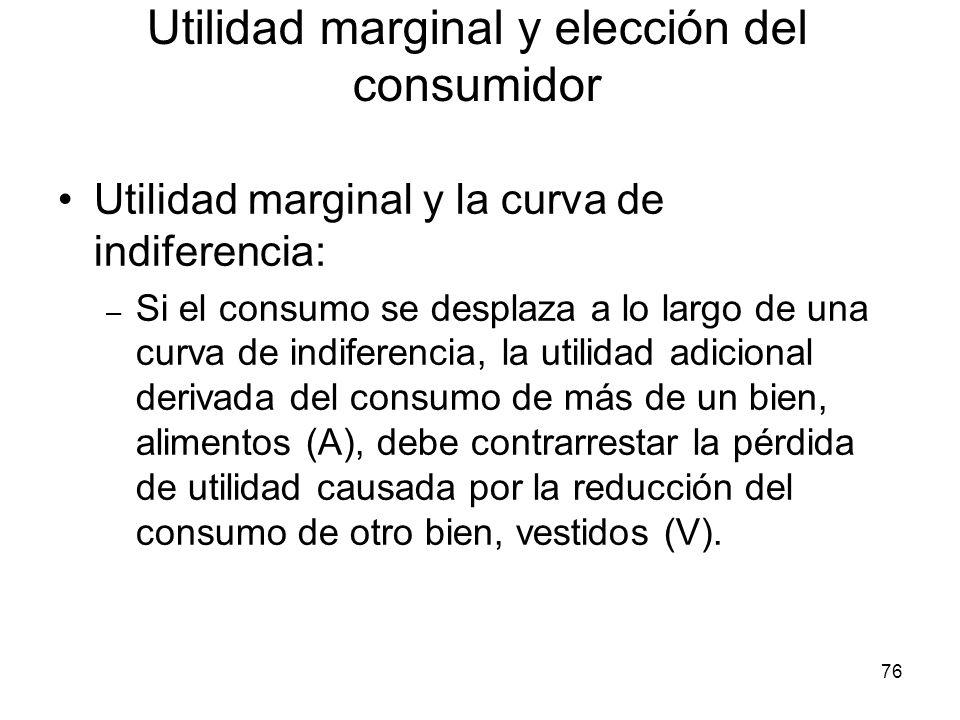 76 Utilidad marginal y la curva de indiferencia: – Si el consumo se desplaza a lo largo de una curva de indiferencia, la utilidad adicional derivada d