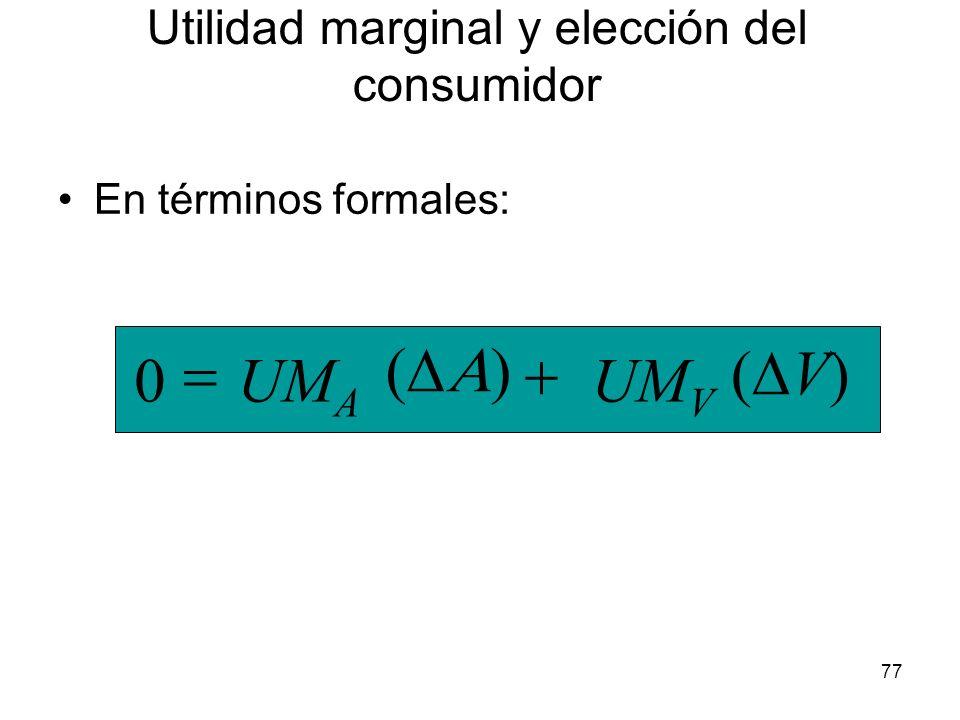 77 En términos formales: UM V UM A V) 0 Utilidad marginal y elección del consumidor