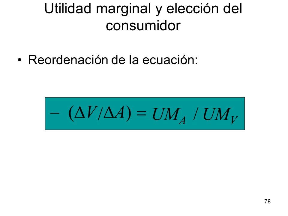 78 Reordenación de la ecuación: UM V UM A // A) V Utilidad marginal y elección del consumidor