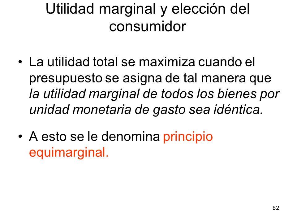 82 La utilidad total se maximiza cuando el presupuesto se asigna de tal manera que la utilidad marginal de todos los bienes por unidad monetaria de ga