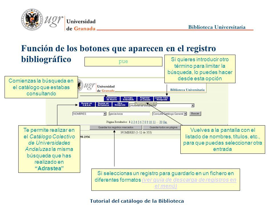 ¿Qué información proporciona el registro bibliográfico.
