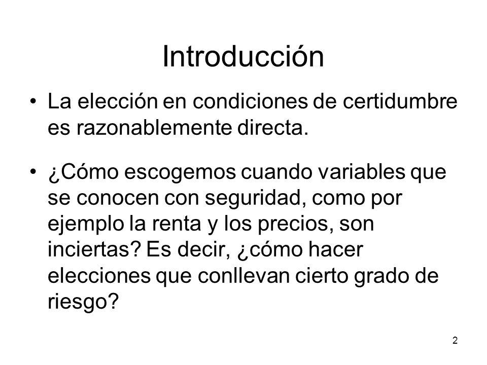 2 Introducción La elección en condiciones de certidumbre es razonablemente directa. ¿Cómo escogemos cuando variables que se conocen con seguridad, com
