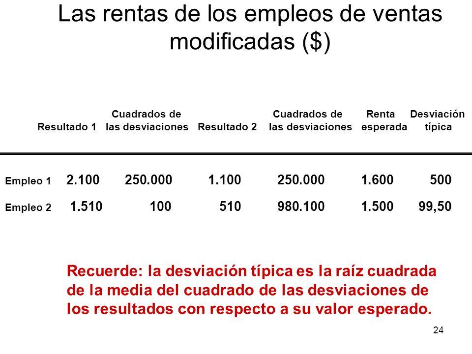 24 Las rentas de los empleos de ventas modificadas ($) Recuerde: la desviación típica es la raíz cuadrada de la media del cuadrado de las desviaciones