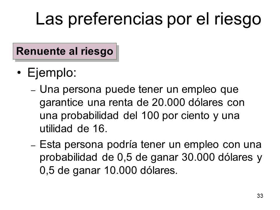 33 Las preferencias por el riesgo Ejemplo: – Una persona puede tener un empleo que garantice una renta de 20.000 dólares con una probabilidad del 100