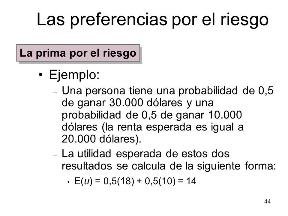 44 Las preferencias por el riesgo Ejemplo: – Una persona tiene una probabilidad de 0,5 de ganar 30.000 dólares y una probabilidad de 0,5 de ganar 10.0
