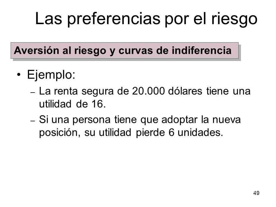 49 Las preferencias por el riesgo Ejemplo: – La renta segura de 20.000 dólares tiene una utilidad de 16. – Si una persona tiene que adoptar la nueva p